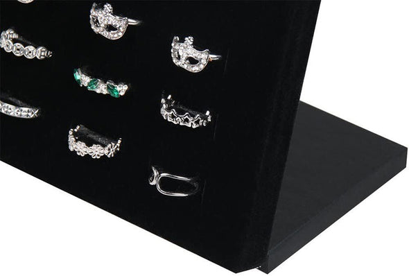 50 Slot Black Velvet Ring and Earring Jewelry Display