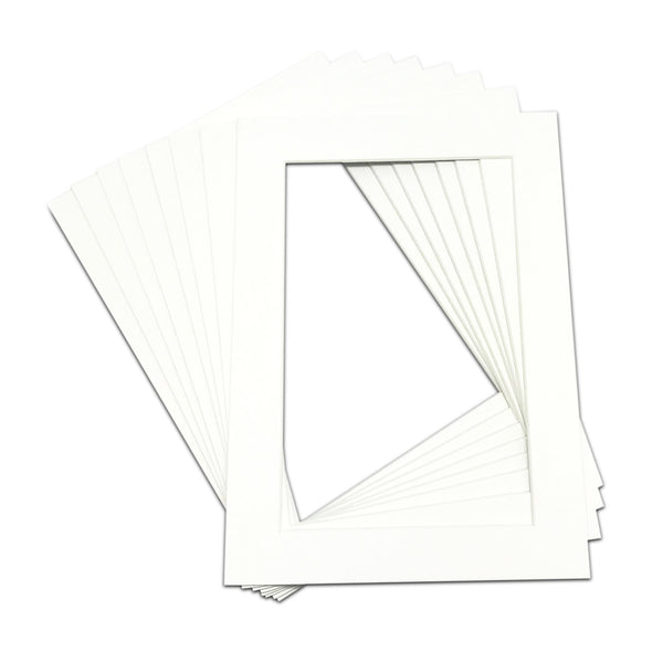"Pack of 25 Pre-Cut 5""X7"" White Picture Mat Boards"