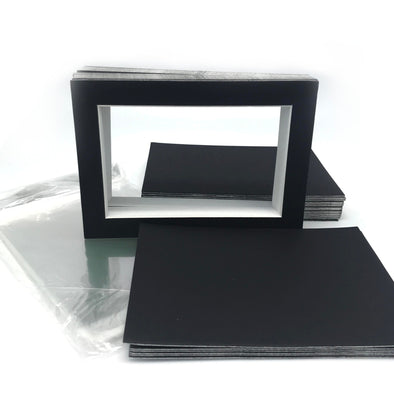 "Pack of 25 Black Pre-Cut Picture Mats Set - 5""x7"""
