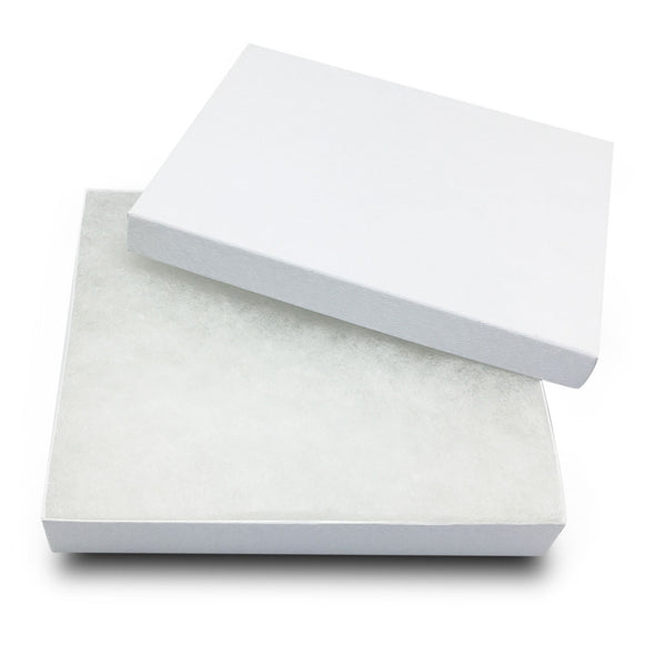 "6 1/8""x5 1/8""x1 1/8"" White Swirl Cotton Filled Jewelry Boxes"