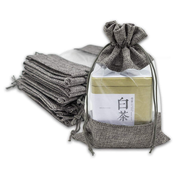 "6.25"" x 9"" Linen Burlap and Sheer Organza Gray Gift Bag"