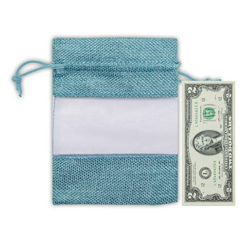 "6.25"" x 9"" Linen Burlap and Sheer Organza Teal Blue Gift Bag"