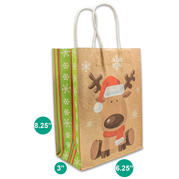 Kraft Paper Christmas Reindeer Shopping Gift Bags