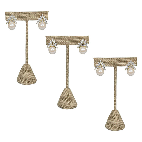 "3 Pack of 6 3/4"" Burlap T-Shape Earring Display Stands"