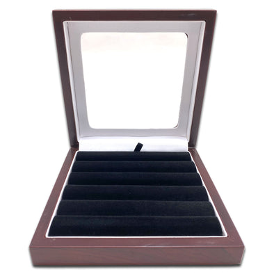 "6 3/8"" x 6 3/8"" Rosewood Ring Display Case with 6 Roll Black Velvet Insert"