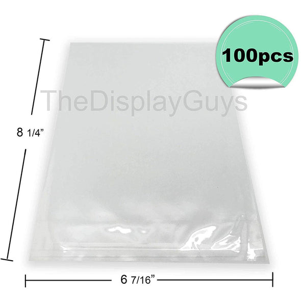 "6 7/16"" x 8 1/4"" 100 Pack Clear Self Adhesive Plastic Bags for 6"" x 8"" Photos"