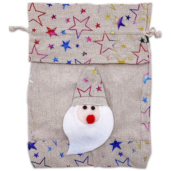 6 Pack of Cotton Muslin Santa Claus Rainbow Star Christmas Drawstring Gift Bags