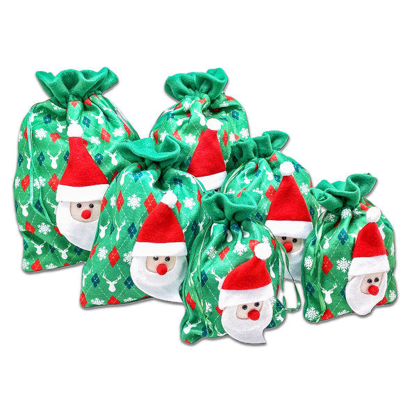 6 Pack of Satin and Velvet Green Santa Claus Christmas Drawstring Gift Bags