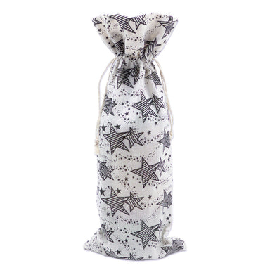 "6"" x 14"" Cotton Muslin Black Star Wine Bottle Drawstring Gift Bags"