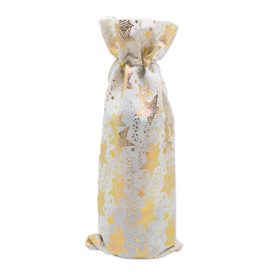 "6"" x 14"" Cotton Muslin Gold Star Wine Bottle Drawstring Gift Bags"