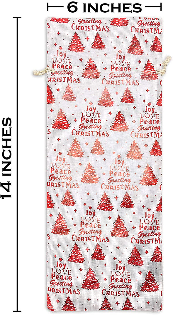 "6"" x 14"" Cotton Muslin Red Christmas Tree Wine Bottle Drawstring Gift Bags"