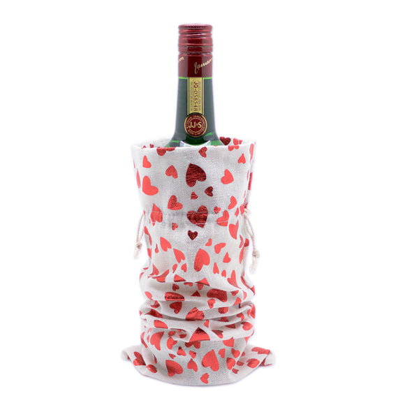"6"" x 14"" Cotton Muslin Red Heart Wine Bottle Drawstring Gift Bags"