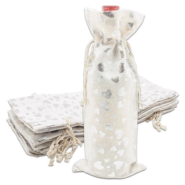 "6"" x 14"" Cotton Muslin Silver Heart Wine Bottle Drawstring Gift Bags"