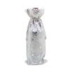 "6"" x 14"" Cotton Muslin Silver Star Wine Bottle Drawstring Gift Bags"