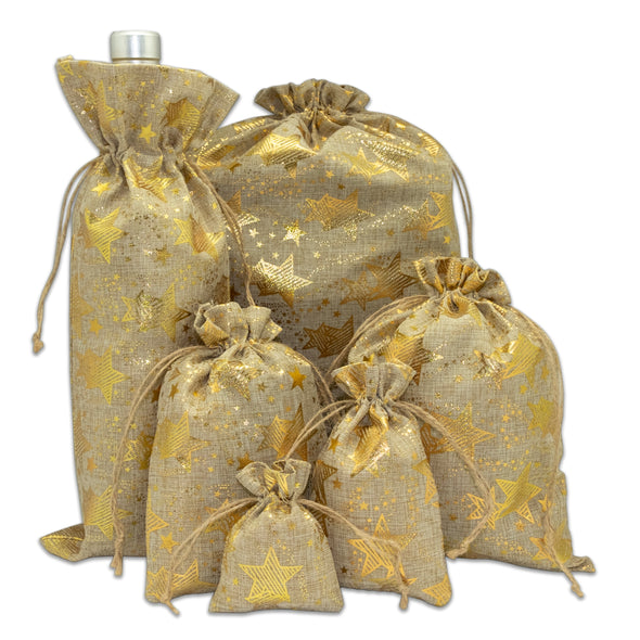 "6"" x 14"" Jute Burlap Gold Star Wine Bottle Drawstring Gift Bags"