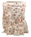"6"" x 14"" Cotton Muslin Red Snowflake Wine Bottle Drawstring Gift Bags"