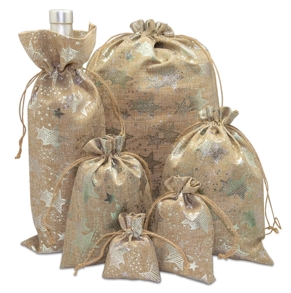 "6"" x 14"" Jute Burlap Silver Star Wine Bottle Drawstring Gift Bags"