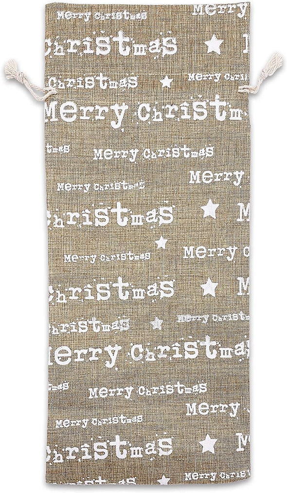"6"" x 14"" Jute Burlap White Merry Christmas Wine Bottle Drawstring Gift Bags"