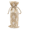 "6"" x 14"" Jute Burlap White Star Wine Bottle Drawstring Gift Bags"