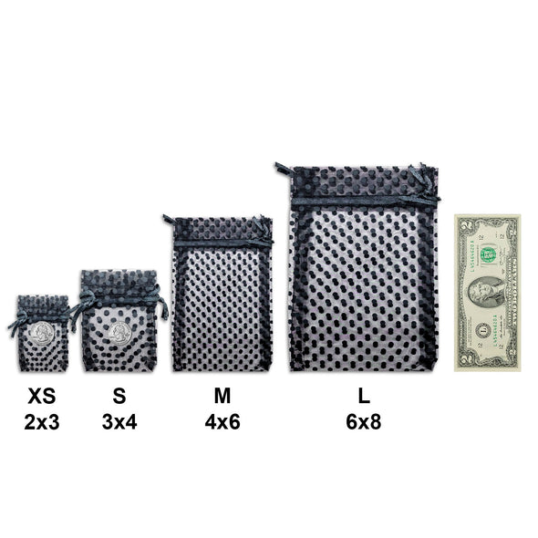 "6"" x 8"" Black with Black Polka Dot Organza Drawstring Pouch Gift Bags"