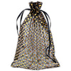 "6"" x 8"" Black with Gold Polka Dot Organza Drawstring Pouch Gift Bags"