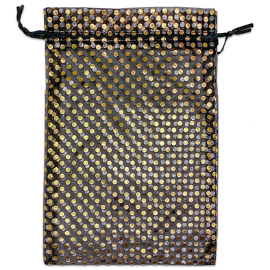 "6"" x 8"" Black and Gold Polka Dot Organza Drawstring Pouch Gift Bags"