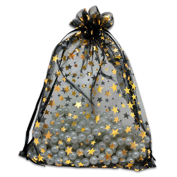 "6"" x 8"" Black with Gold Star Organza Drawstring Pouch Gift Bags"