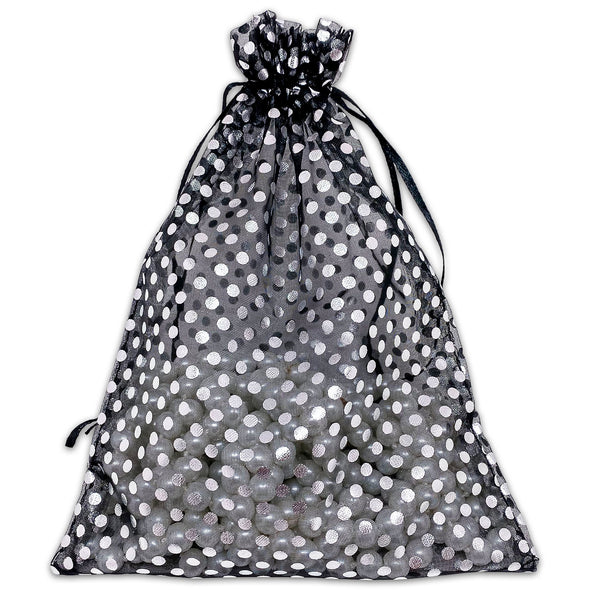 "6"" x 8"" Black with Silver Polka Dot Organza Drawstring Pouch Gift Bags"