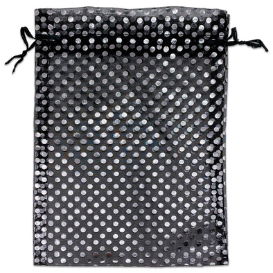 "6"" x 8"" Black and Silver Polka Dot Organza Drawstring Pouch Gift Bags"