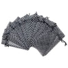 "6"" x 8"" Black with White Polka Dot Organza Drawstring Pouch Gift Bags"