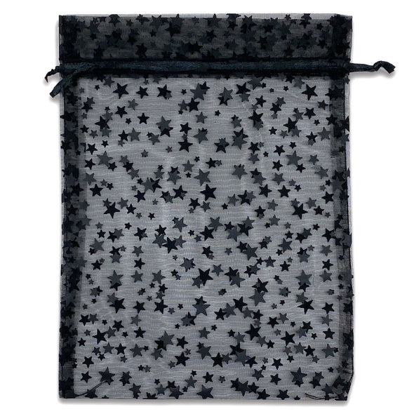 "6"" x 8"" Black with Black Star Organza Drawstring Pouch Gift Bags"