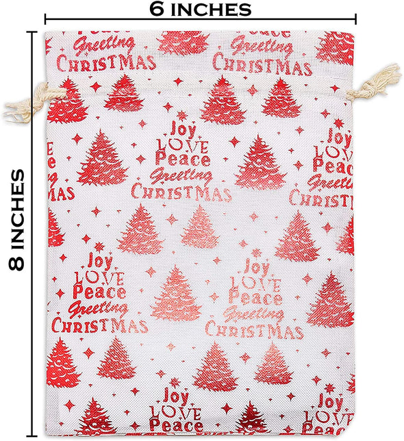 "6"" x 8"" Cotton Muslin Red Christmas Tree Drawstring Gift Bags"