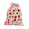 "6"" x 8"" Cotton Muslin Red Heart Drawstring Gift Bags"