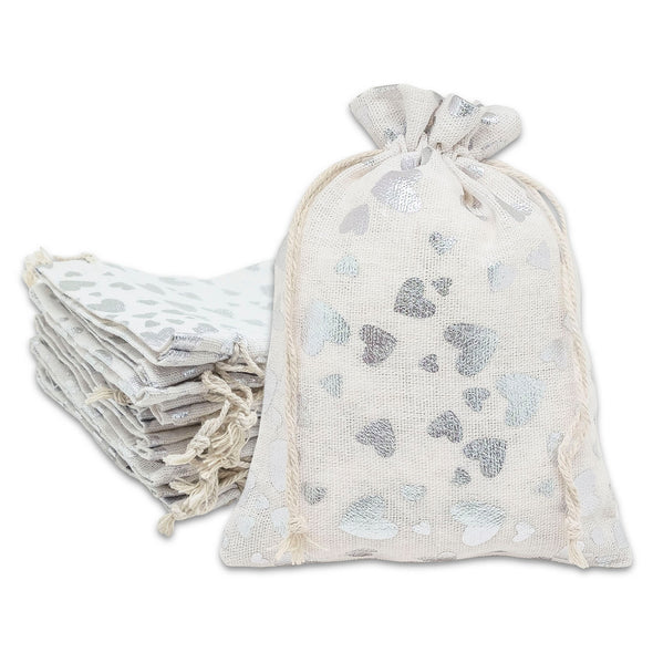 "6"" x 8"" Cotton Muslin Silver Heart Drawstring Gift Bags"