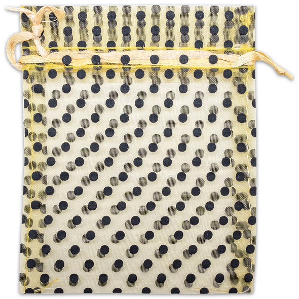 "6"" x 8"" Gold with Black Polka Dot Organza Drawstring Pouch Gift Bags"