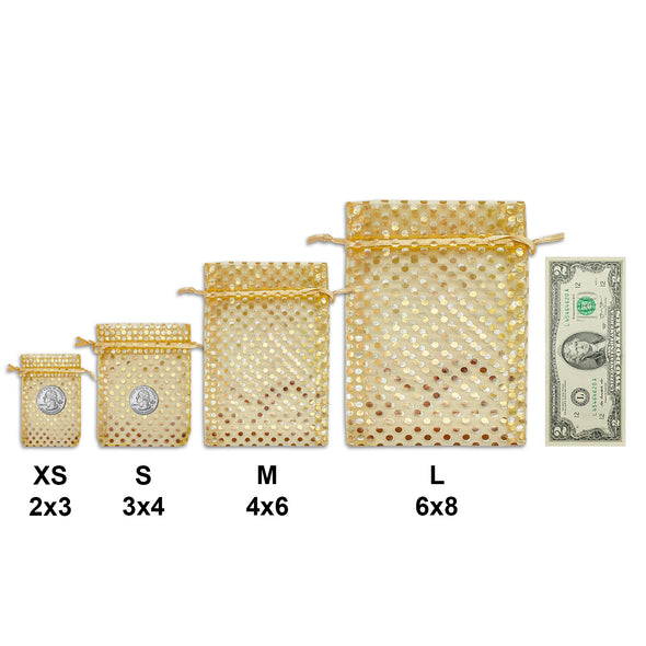 "6"" x 8"" Gold with Gold Polka Dot Organza Drawstring Pouch Gift Bags"