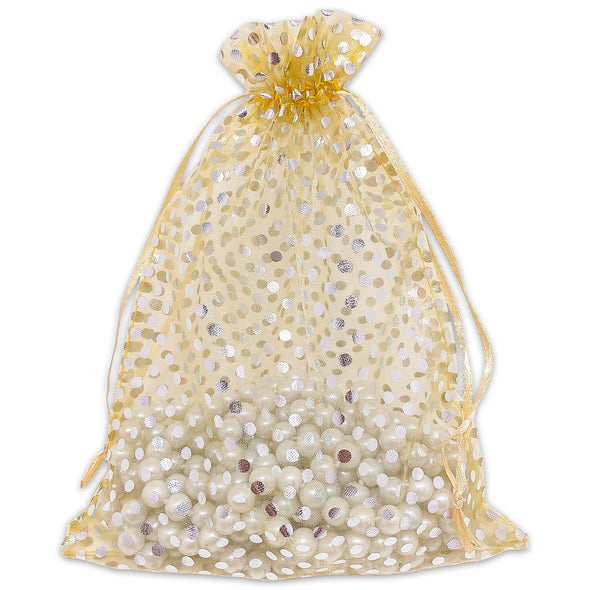 "6"" x 8"" Gold with Silver Polka Dot Organza Drawstring Pouch Gift Bags"