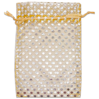 "6"" x 8"" Gold and Silver Polka Dot Organza Drawstring Pouch Gift Bags"