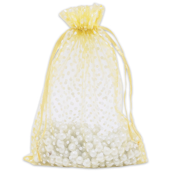 "6"" x 8"" Gold with White Polka Dot Organza Drawstring Pouch Gift Bags"