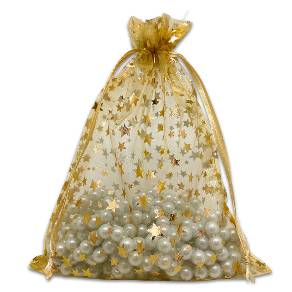 "6"" x 8"" Gold with Gold Star Organza Drawstring Pouch Gift Bags"