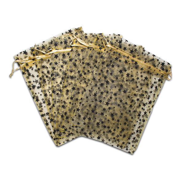"6"" x 8"" Gold with Black Star Organza Drawstring Pouch Gift Bags"