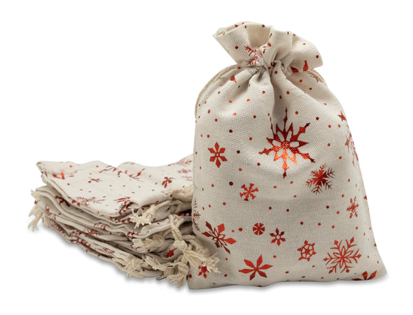 "6"" x 8"" Cotton Muslin Red Snowflake Drawstring Gift Bags"