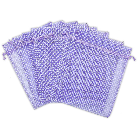 "6"" x 8"" Lavender with White Polka Dot Organza Drawstring Pouch Gift Bags"