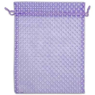 "6"" x 8"" Lavender and White Polka Dot Organza Drawstring Pouch Gift Bags"