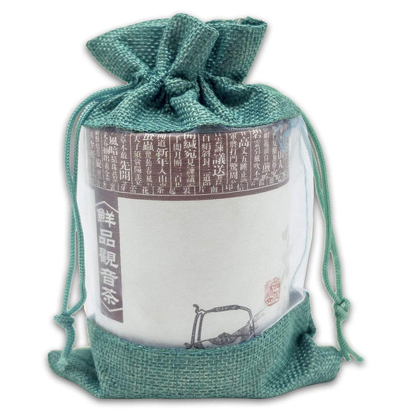 "6"" x 8"" Linen Burlap and Sheer Organza Teal Blue Gift Bag"