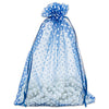 "6"" x 8"" Navy with White Polka Dot Organza Drawstring Pouch Gift Bags"