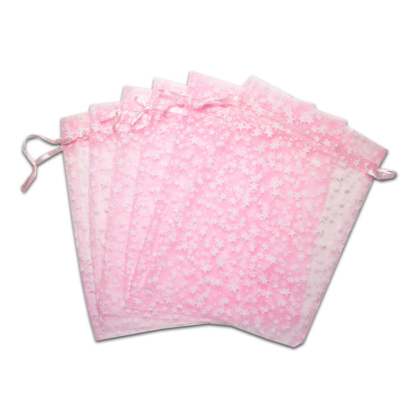 "6"" x 8"" Pink with White Star Organza Drawstring Pouch Gift Bags"