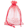 Red with White Polka Dot Organza Drawstring Pouch Gift Bags