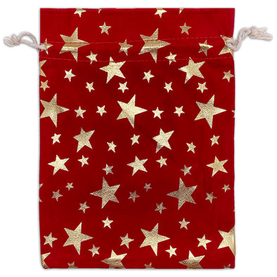 "6"" x 8"" Red Velvet Gold Star Christmas Drawstring Gift Bags"