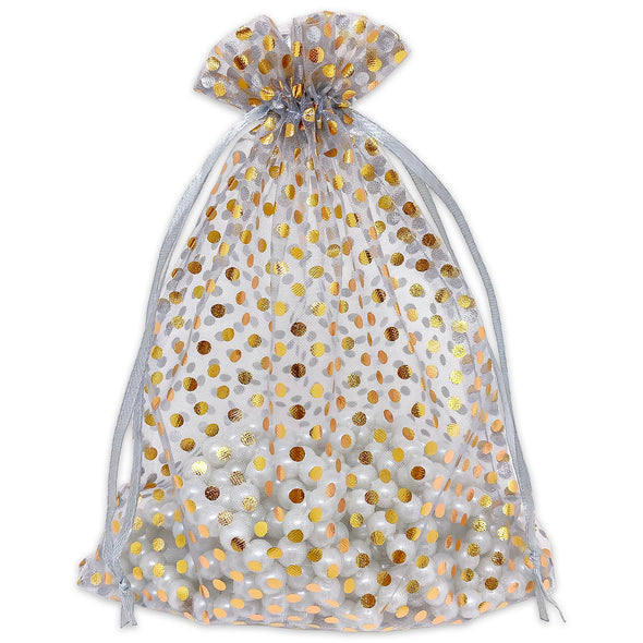 "6"" x 8"" Silver with Gold Polka Dot Organza Drawstring Pouch Gift Bags"